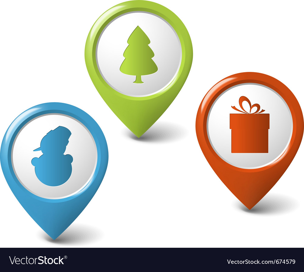 Christmas round 3d pointers vector
