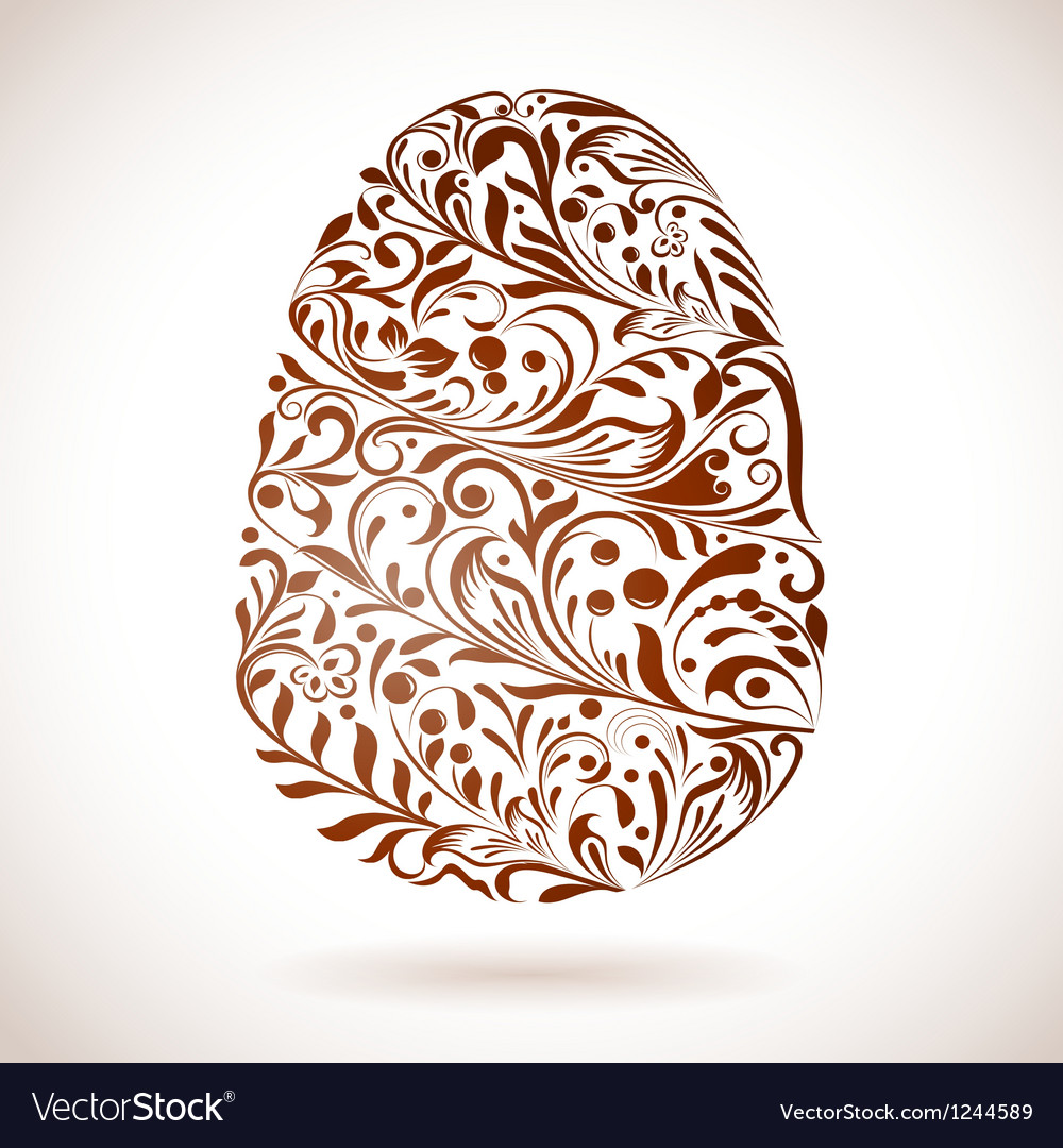Abstract easter egg floral ornament vector