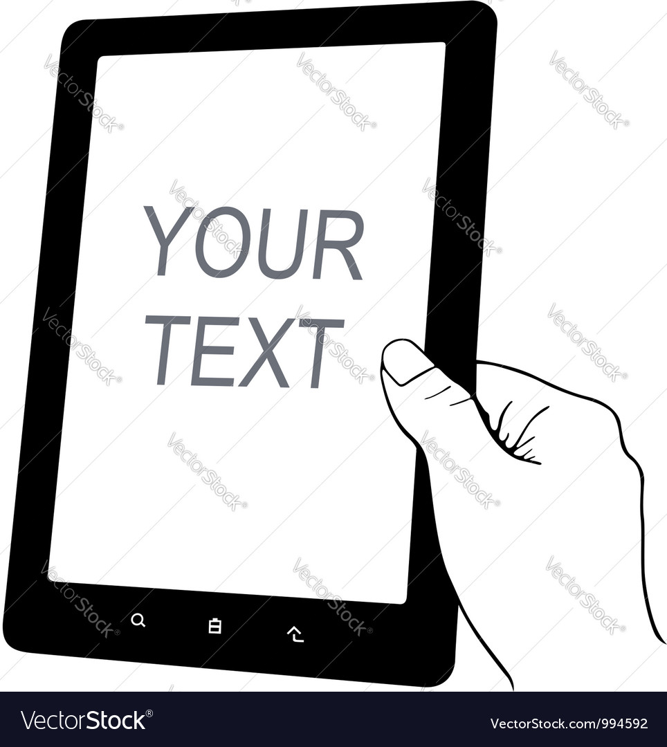 Hand holding tablet pc vector
