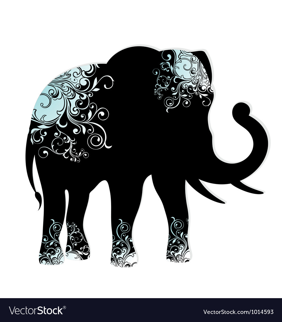 The silhouette of the elephant vector