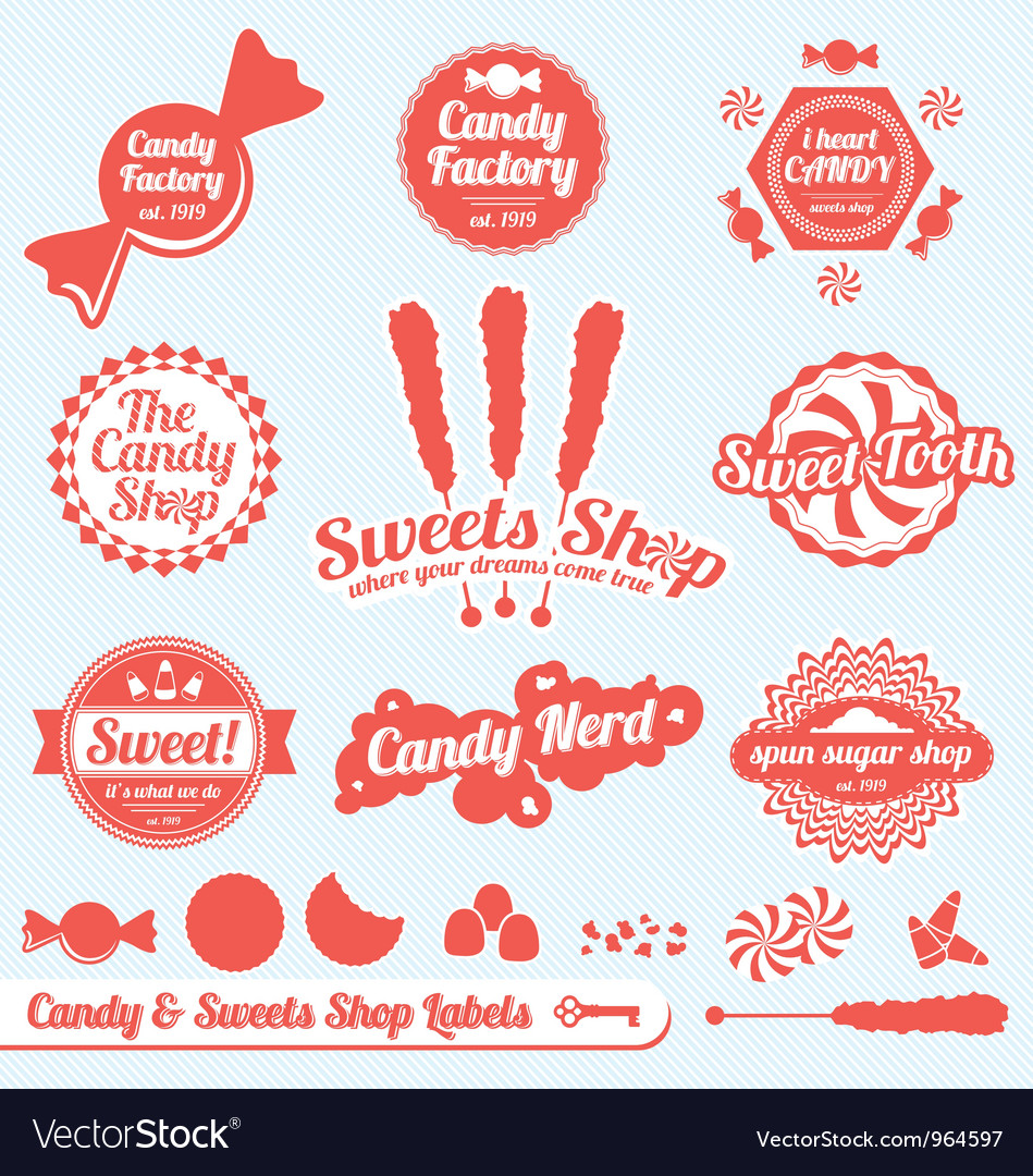 Candy labels vector