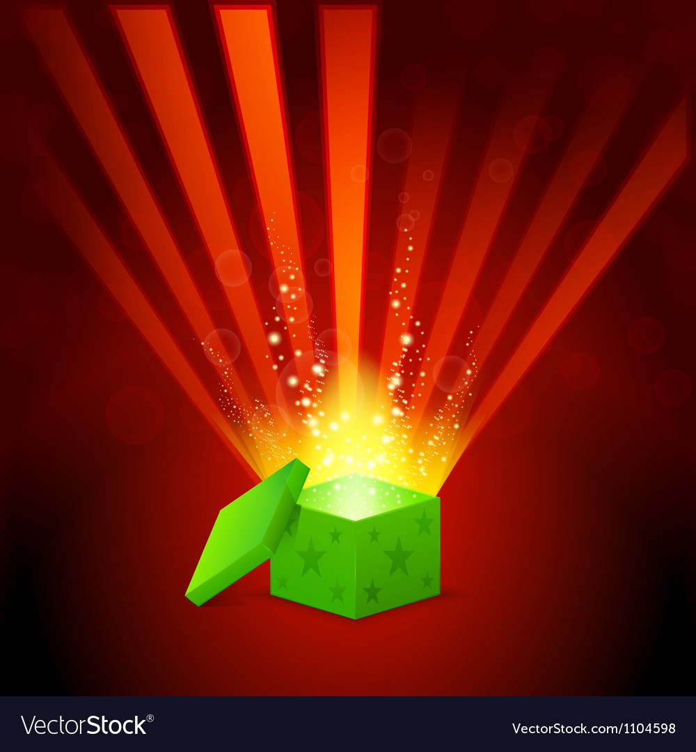 Beautiful magic light shining from a green gift vector