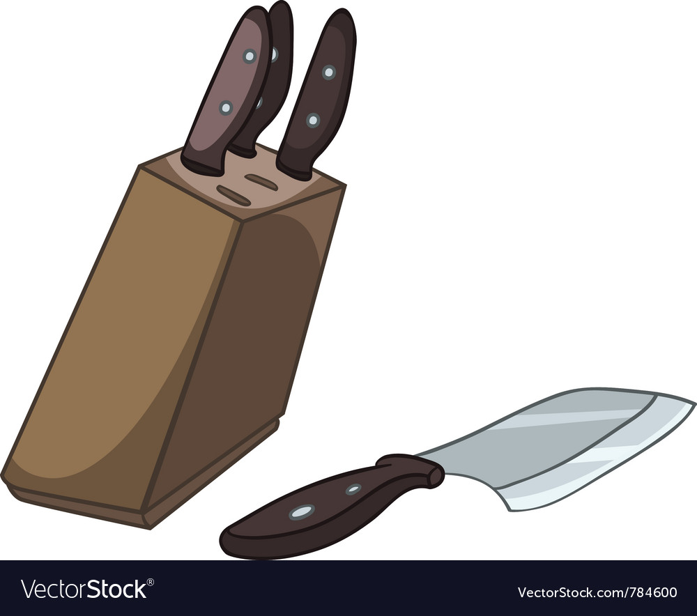 Cartoon home kitchen knife set vector