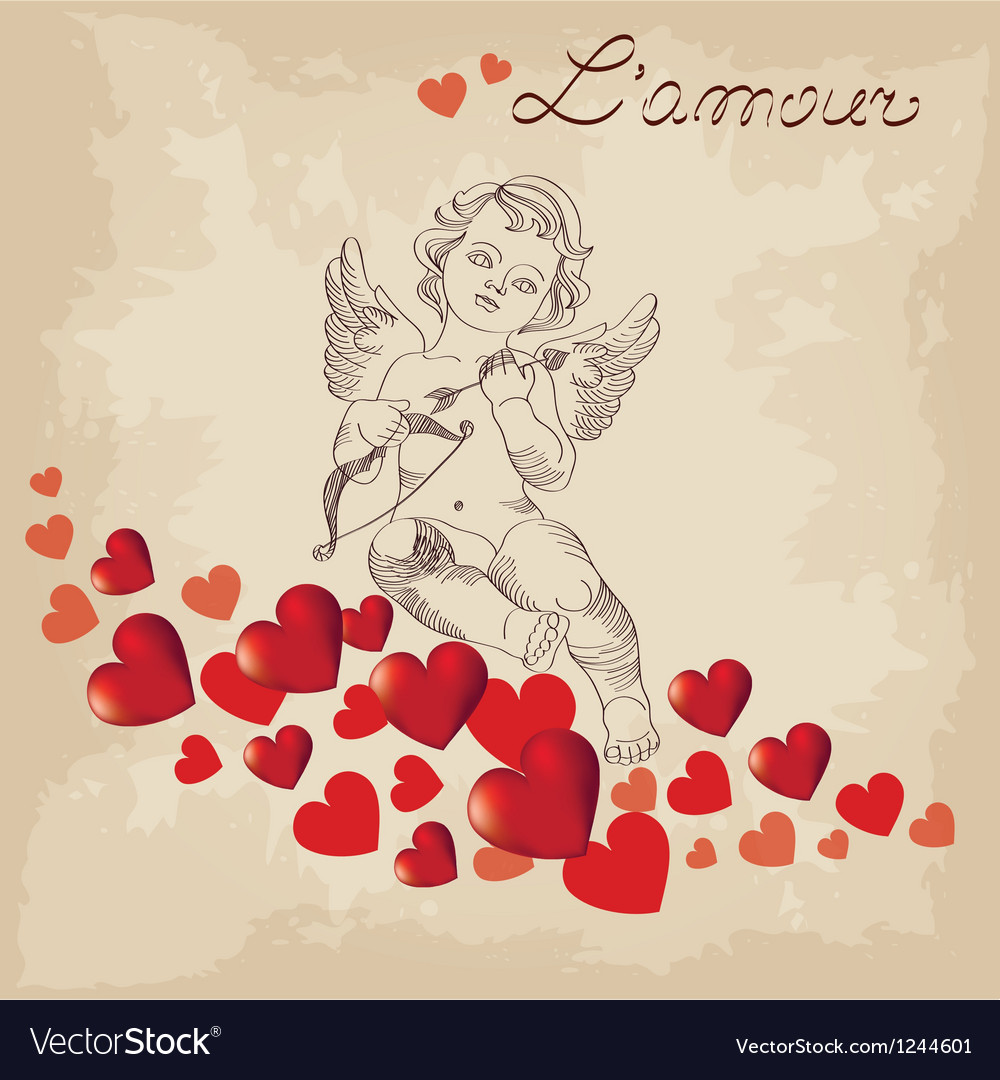Valentines day cute cupid vector