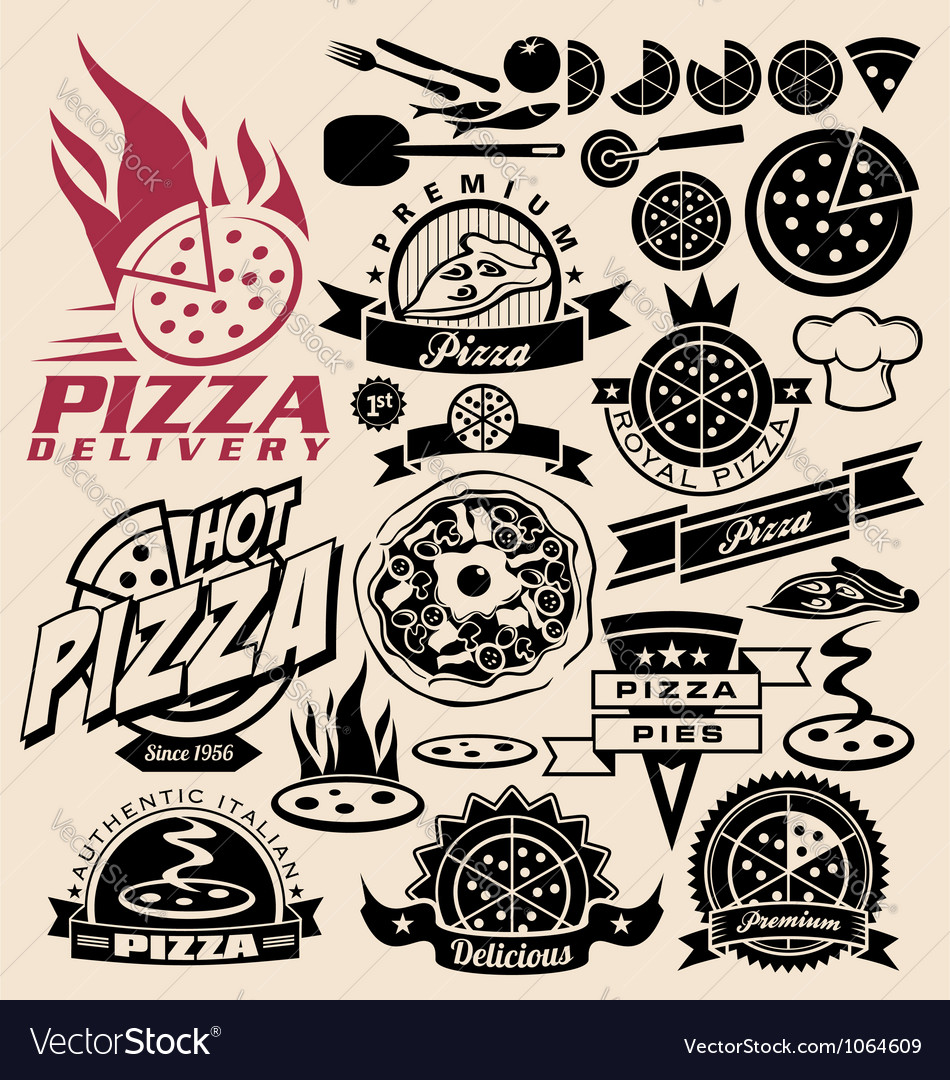 Pizza labels stamps logos and icons vector