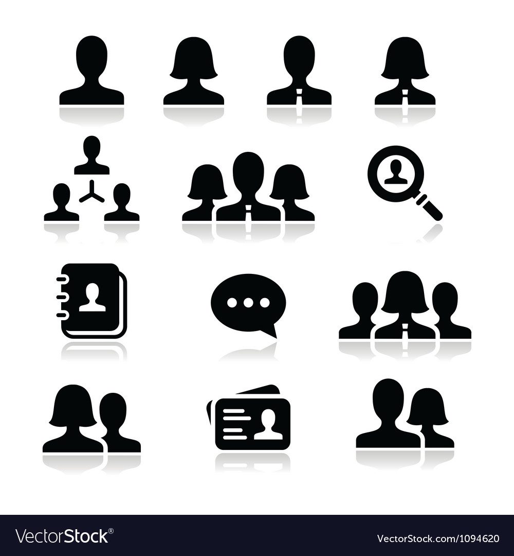 Man woman user icons set vector