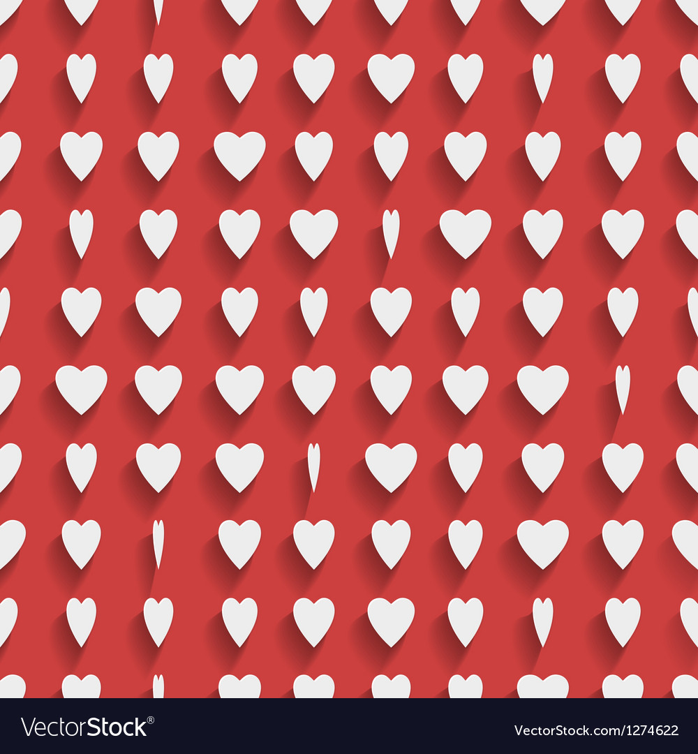Seamless red background with paper hearts vector