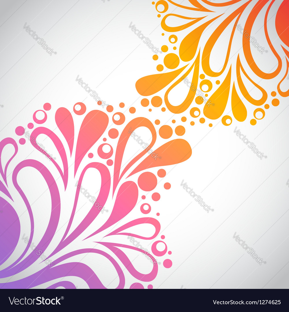 Rainbow floral invitation postcard vector