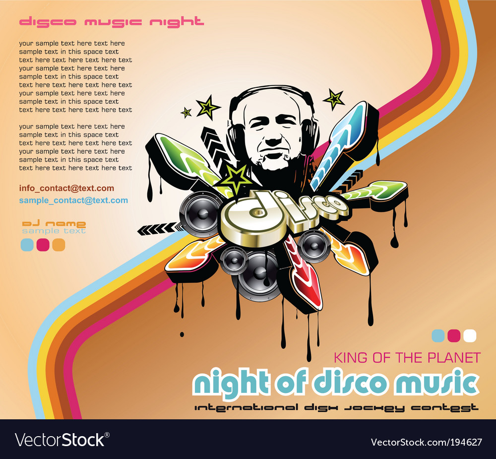 Disco music event background vector