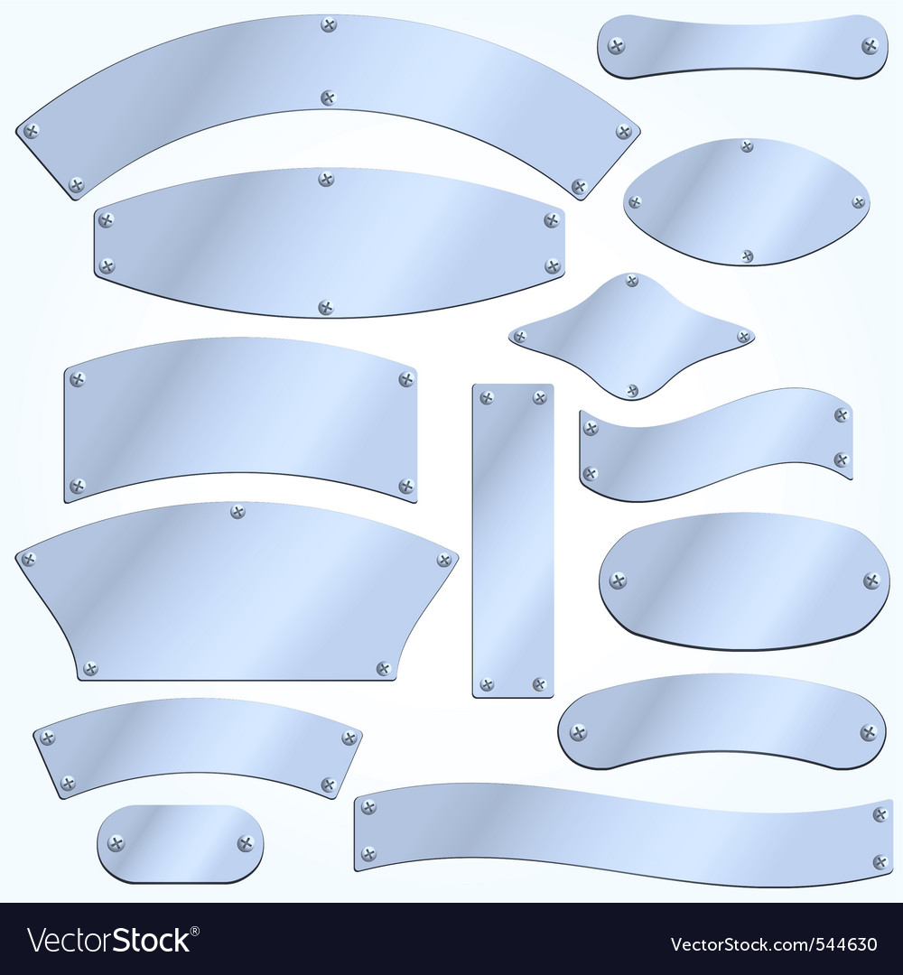 Blank metal plates vector