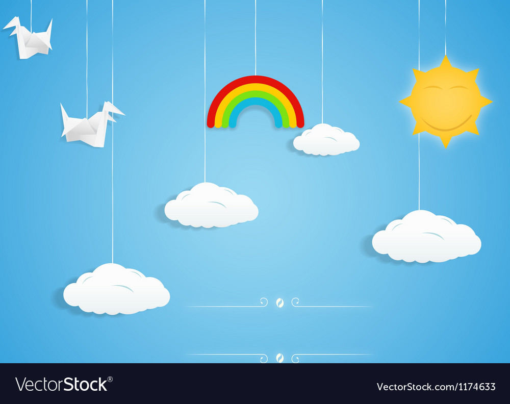 Rainbow clouds birds and sun toys vector