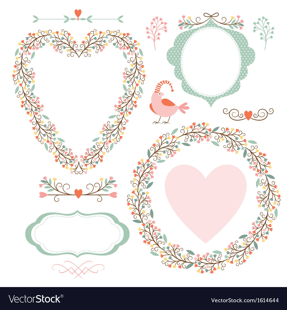 Floral frames and graphic elements vector