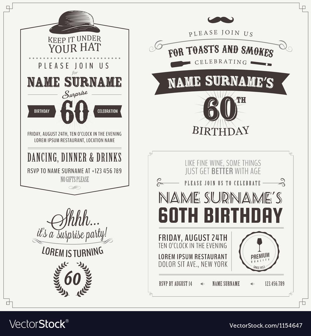Set of adult birthday invitation design elements vector