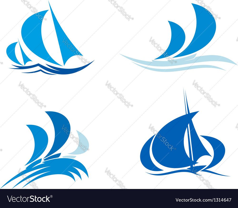 Yachts and boats on regatta vector