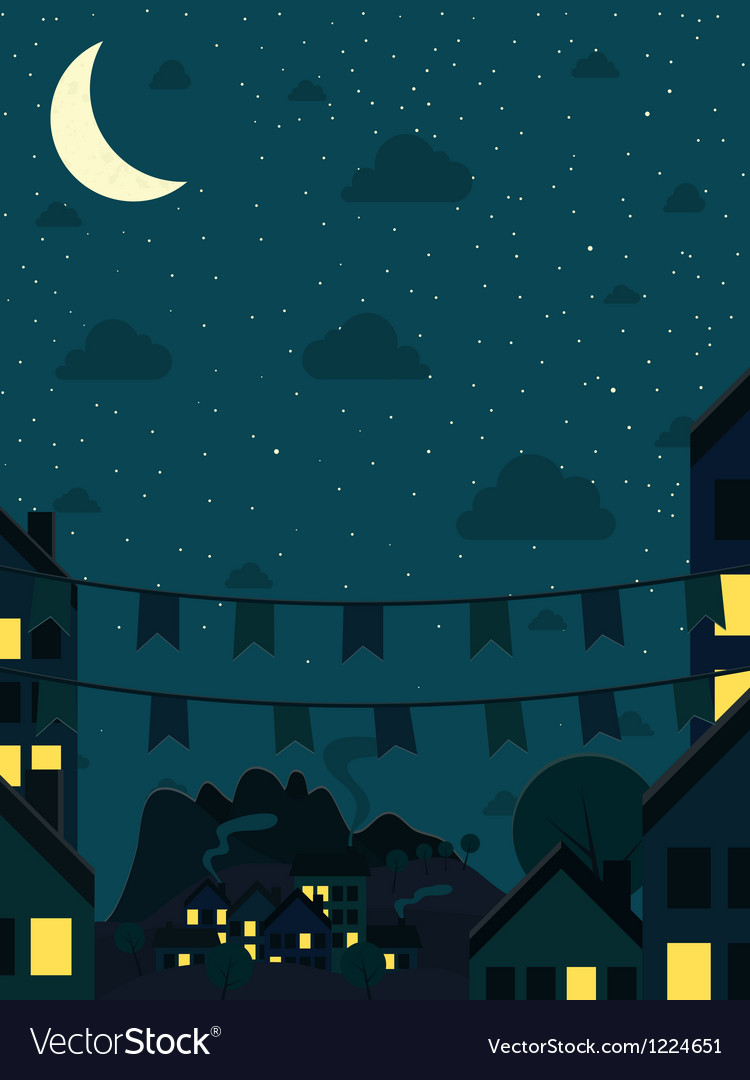 Night small town with moon vector