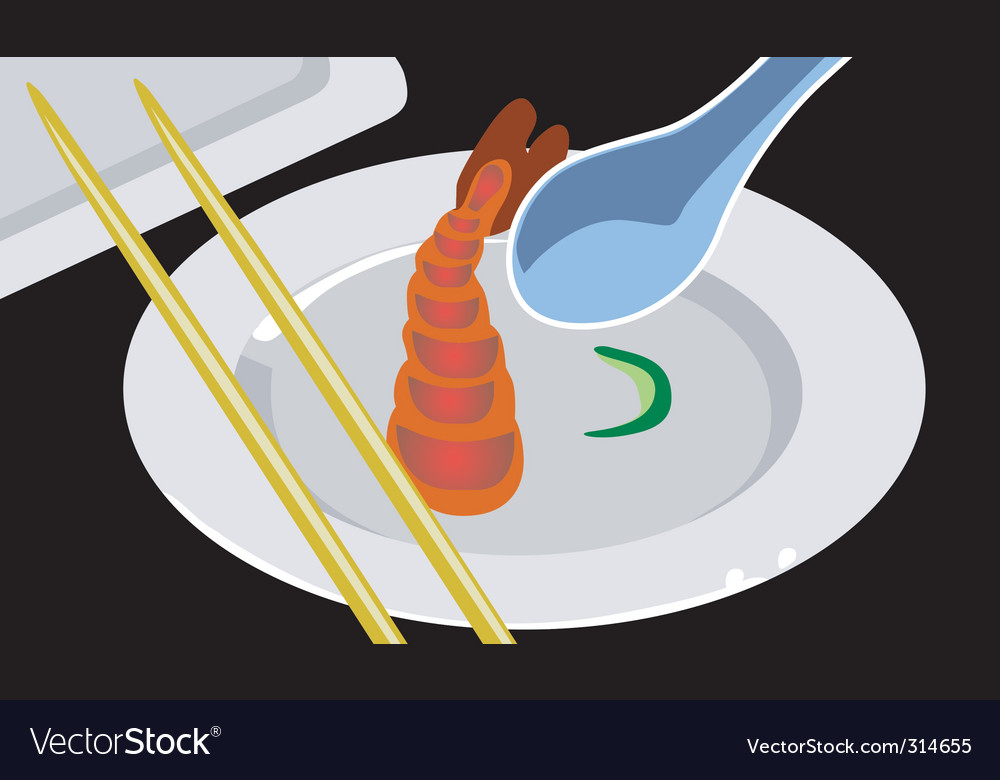 Shrimp and chopstick vector