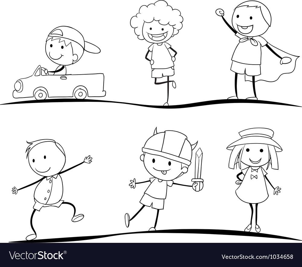 Kids sketches vector