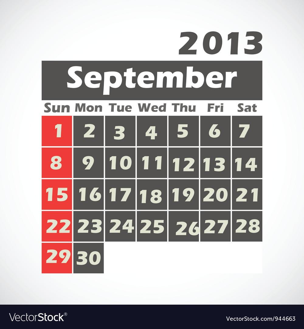 Calendar 2013 september vector