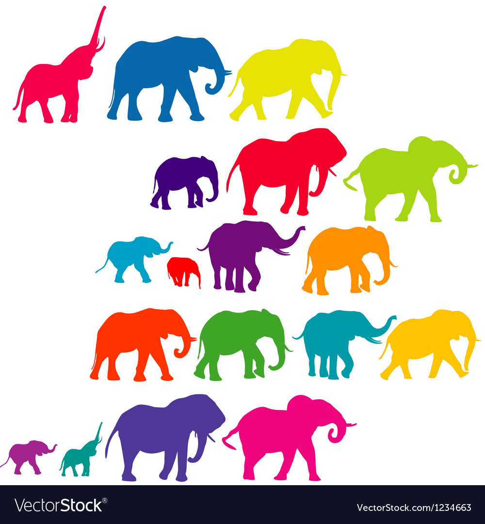 Set of elephant colored silhouettes vector