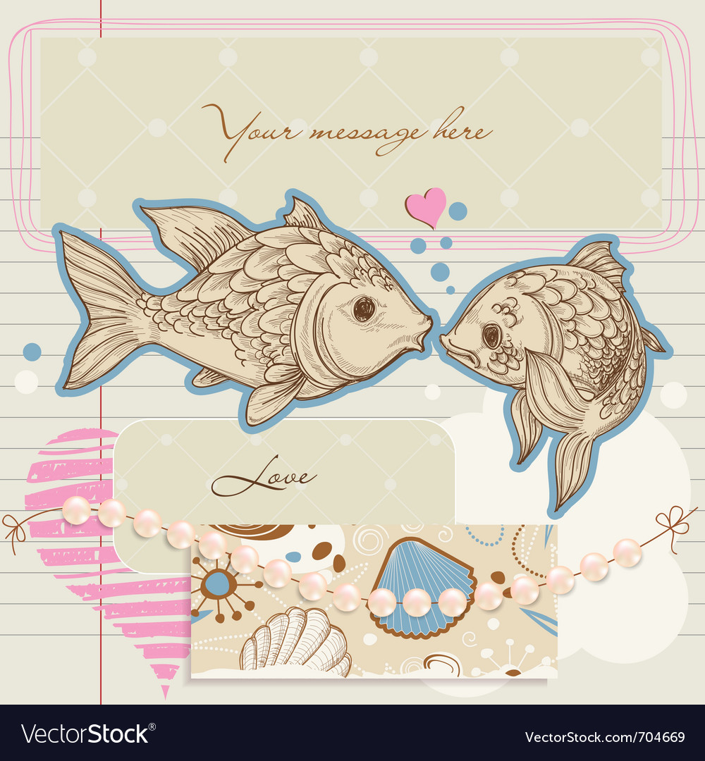 Fish kiss vector