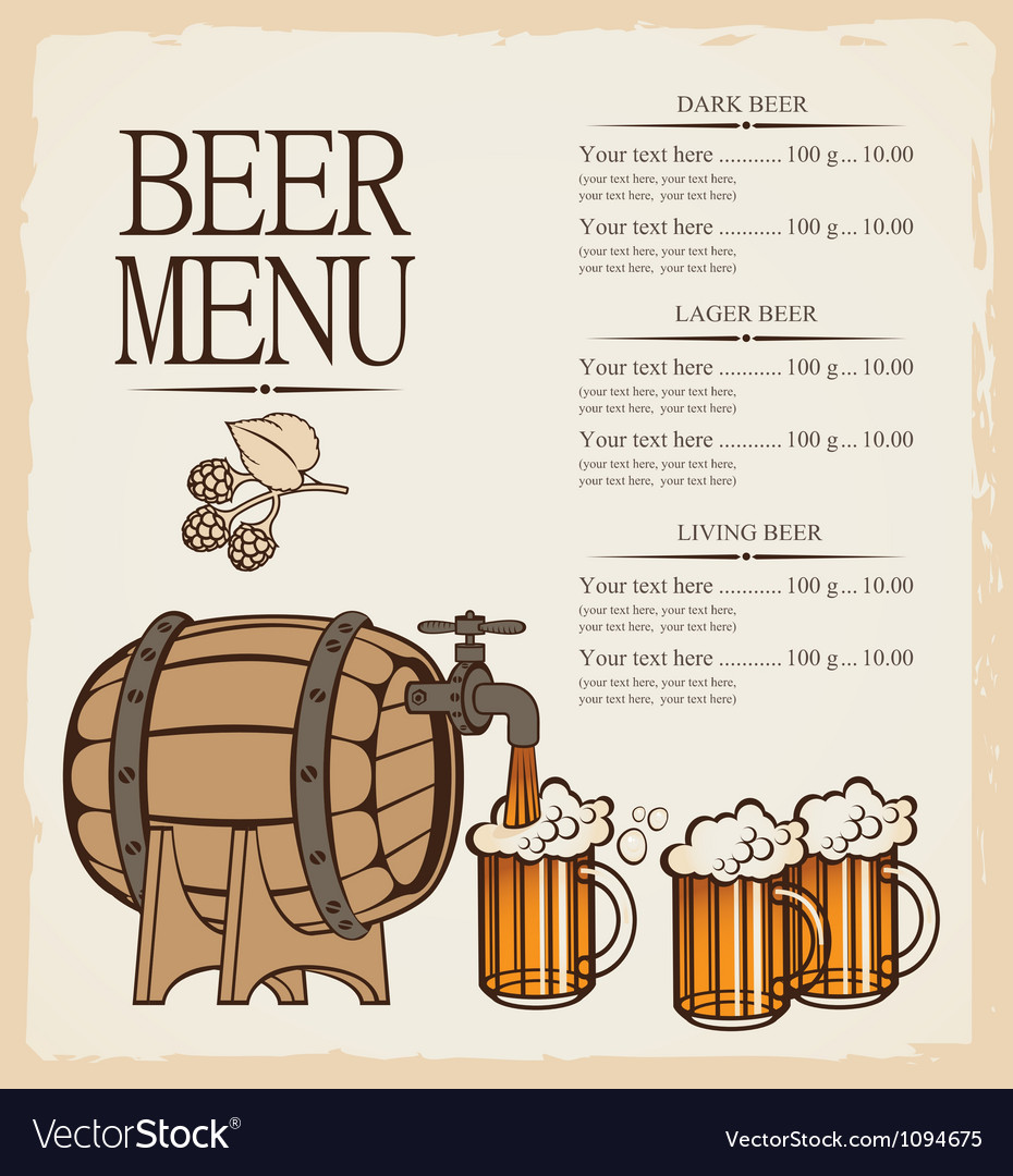 Menu for beer vector
