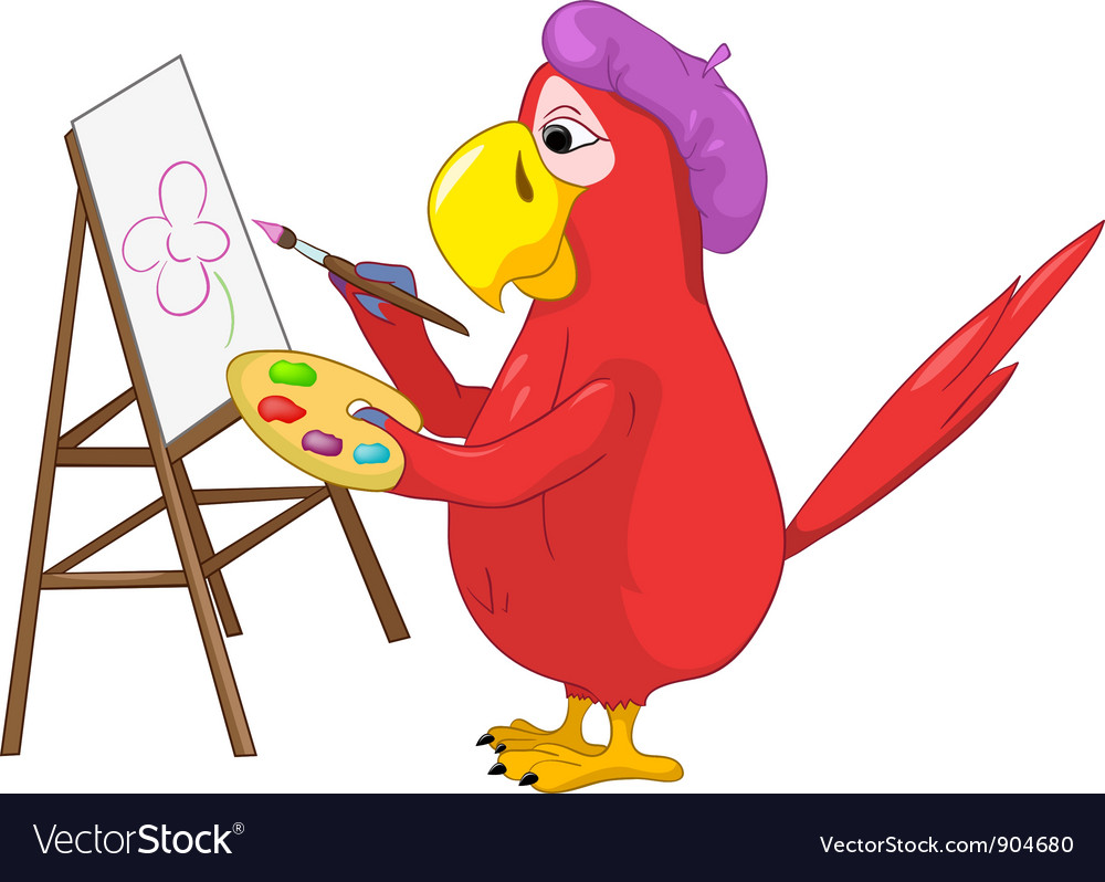 Funny parrot artist vector