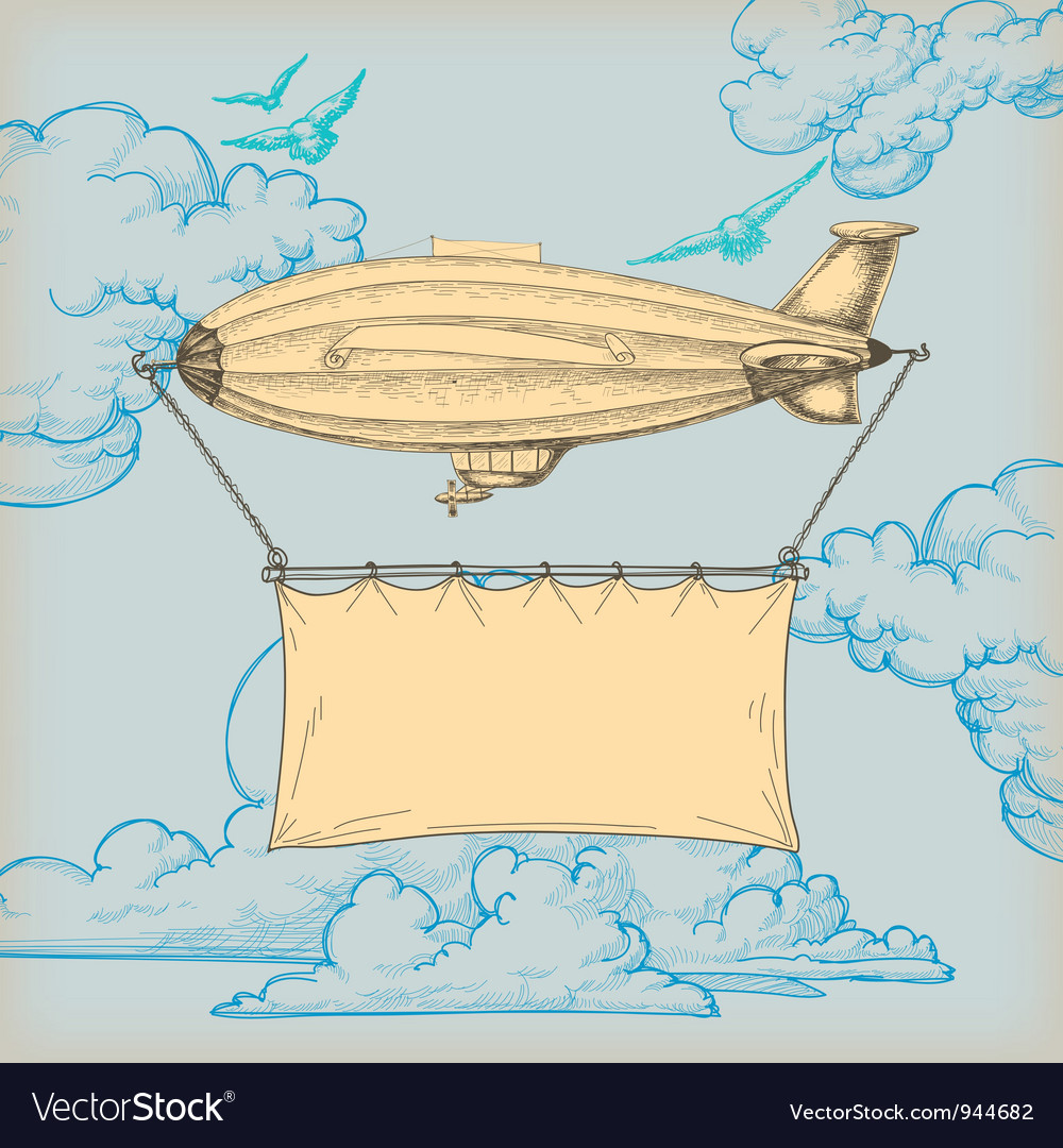 Blimp banner vector