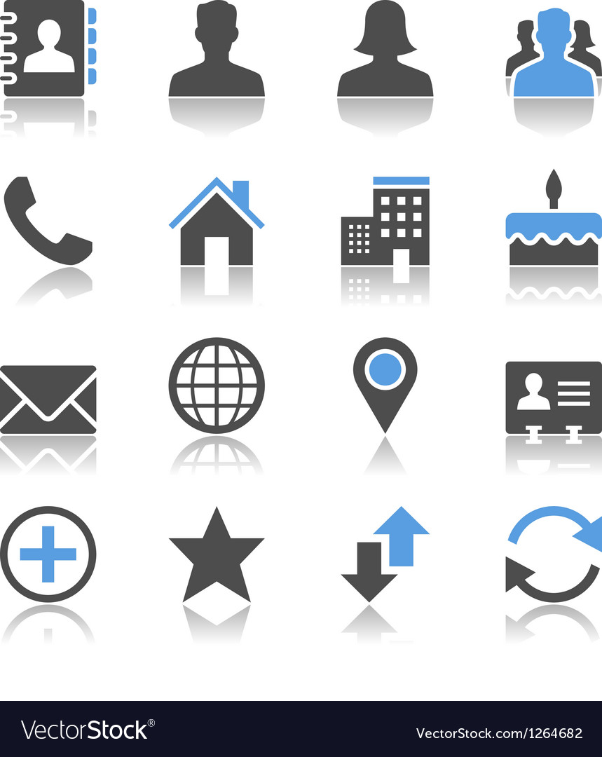 Contact icons reflection vector