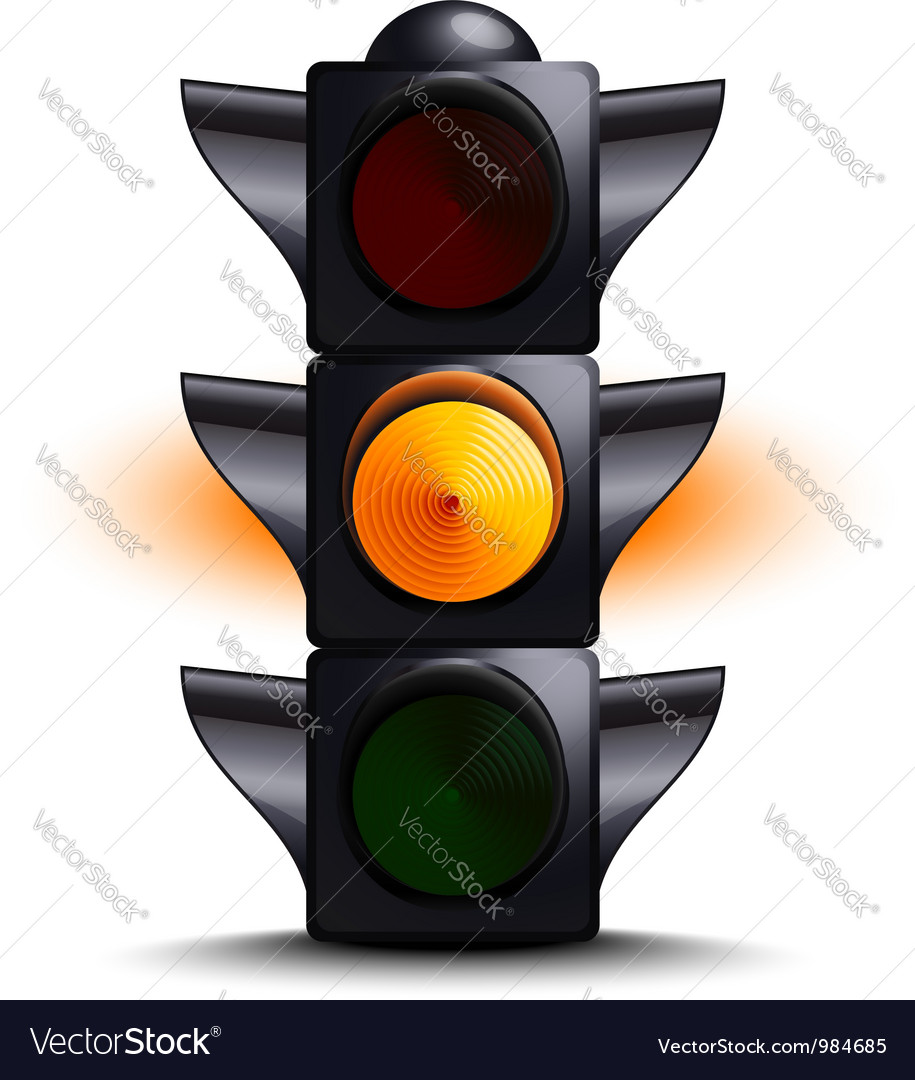 Traffic light on yellow vector