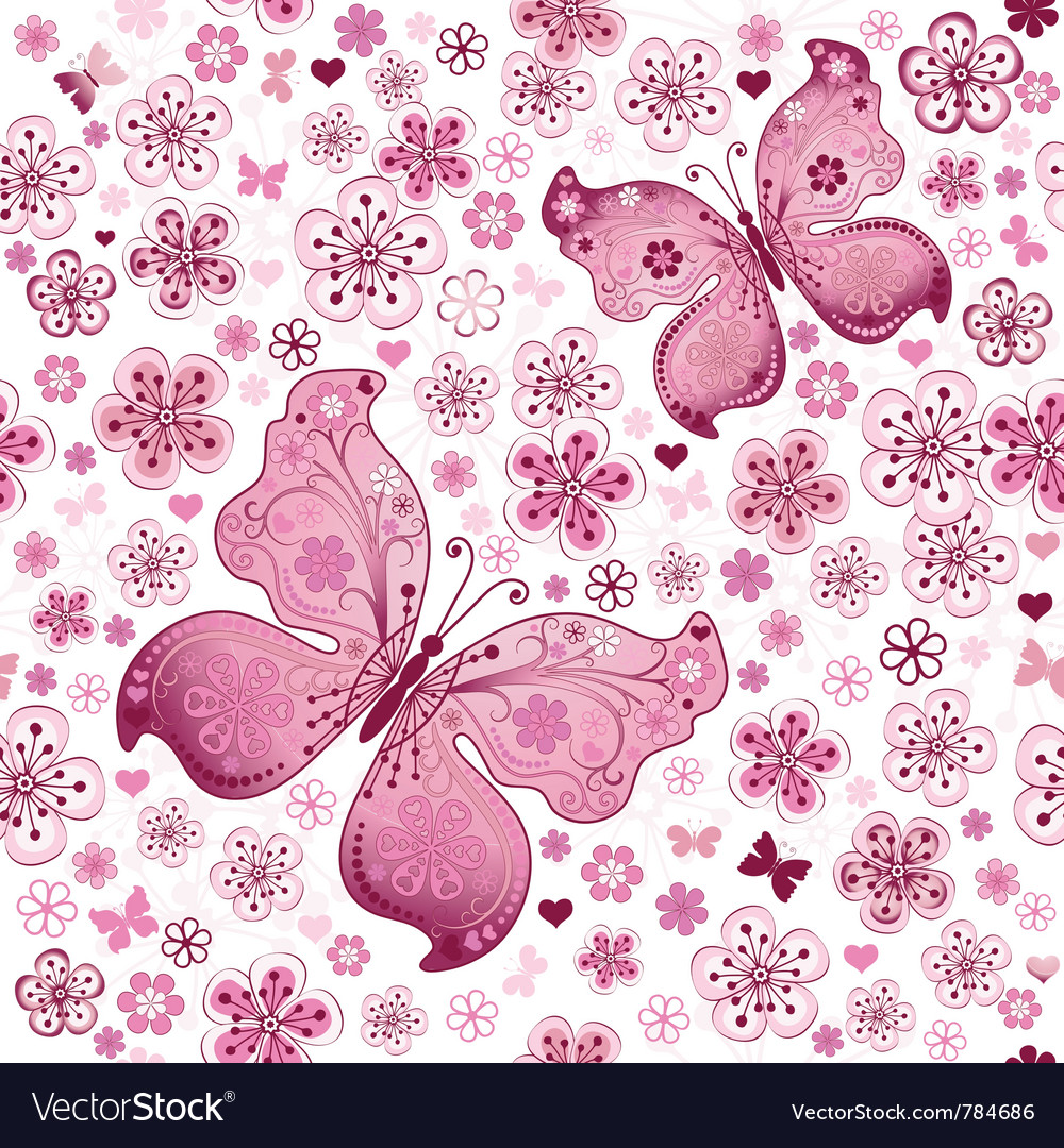 Seamless spring floral pattern vector