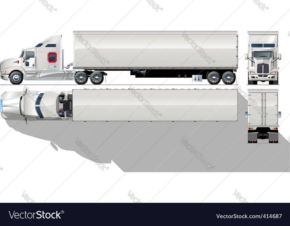 Hi detailed semi truck vector