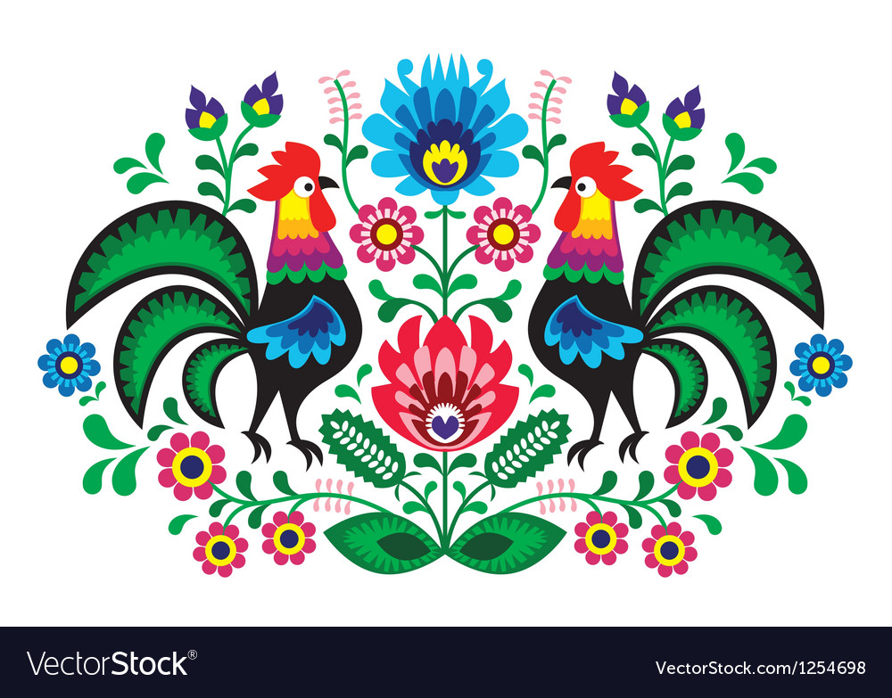 Polish floral embroidery with cocks pattern vector