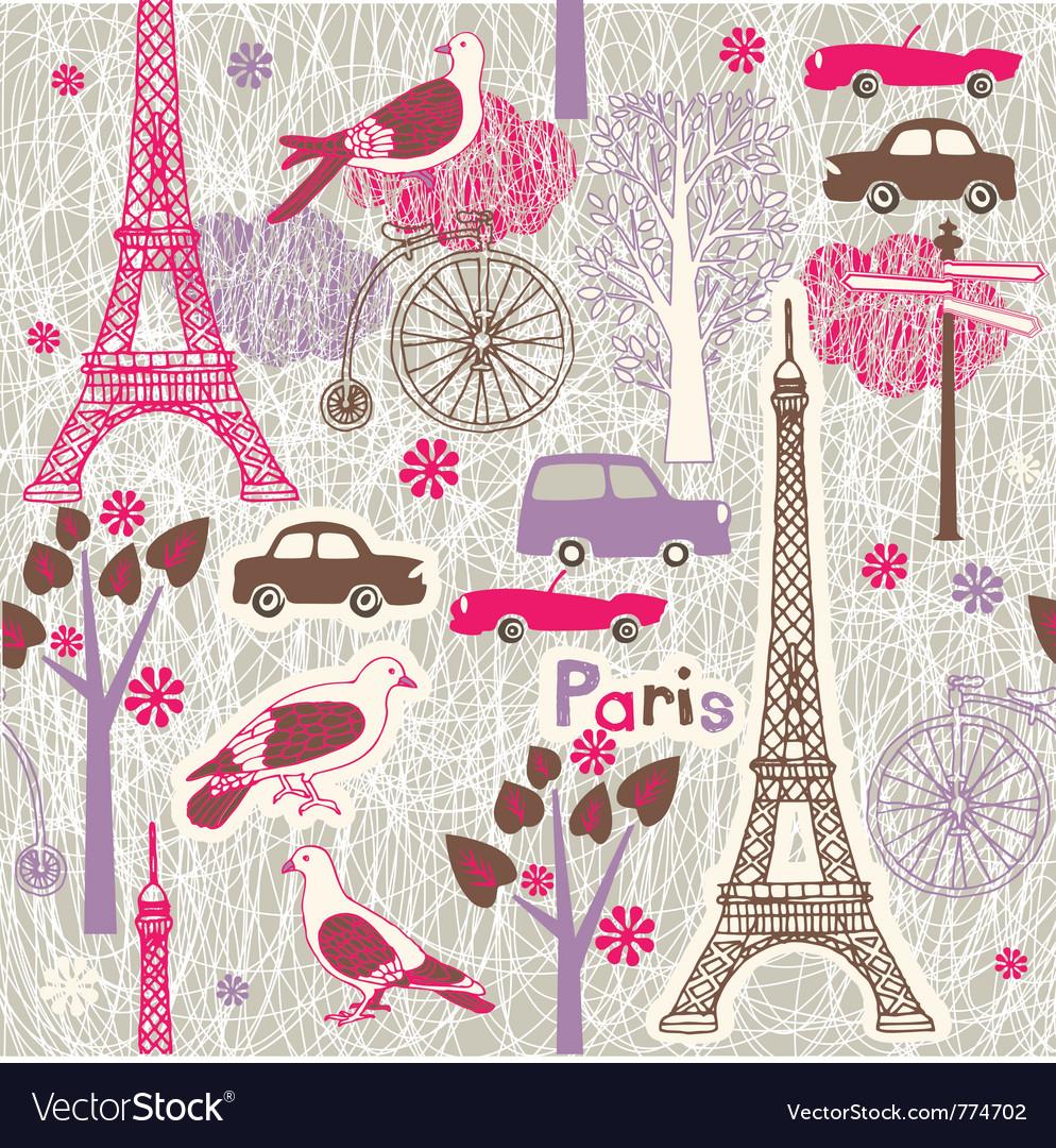 Paris vintage wallpaper vector