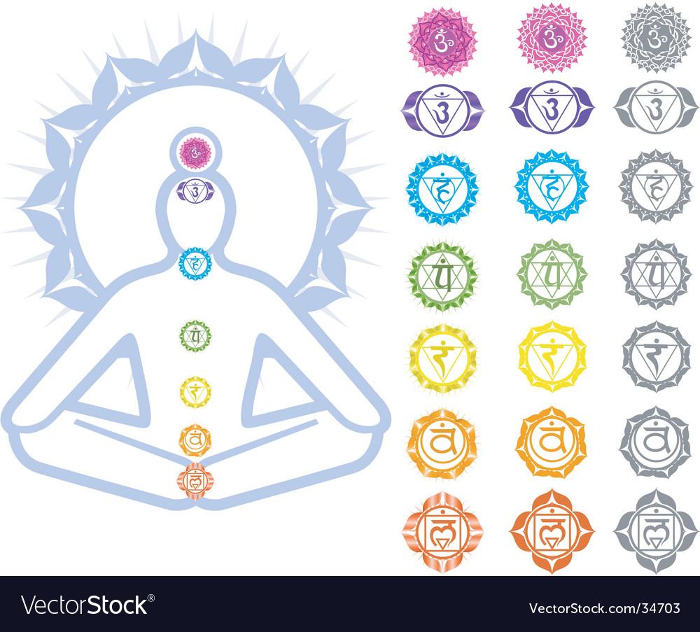 Chakras symbols vector