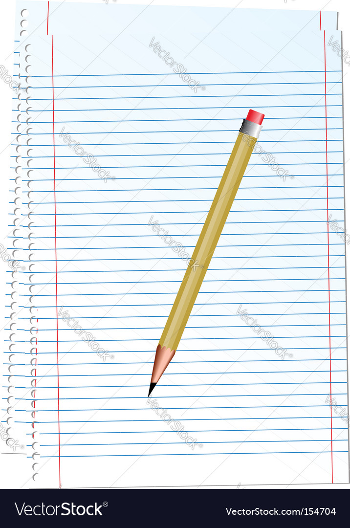 illustration notepad with pencil vector