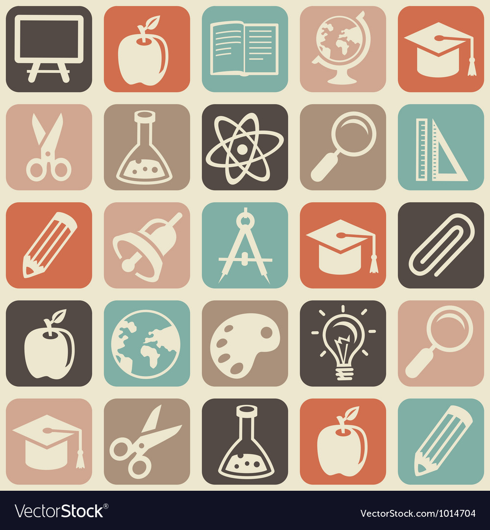 Seamless pattern with education icons vector