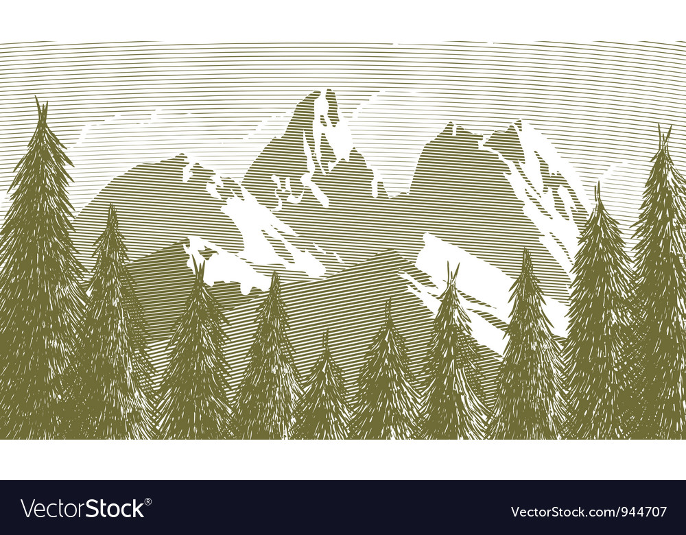 Woodcut tree and mountainscape vector