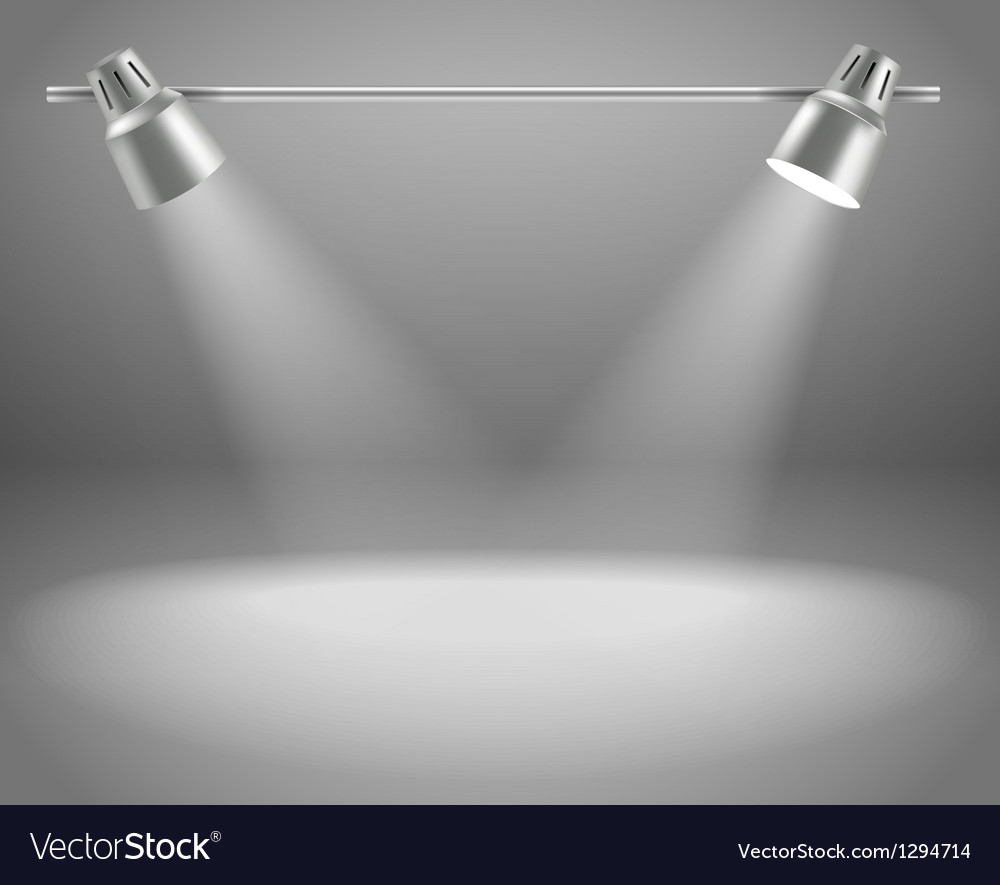 Photorealistic bright stage with projectors vector