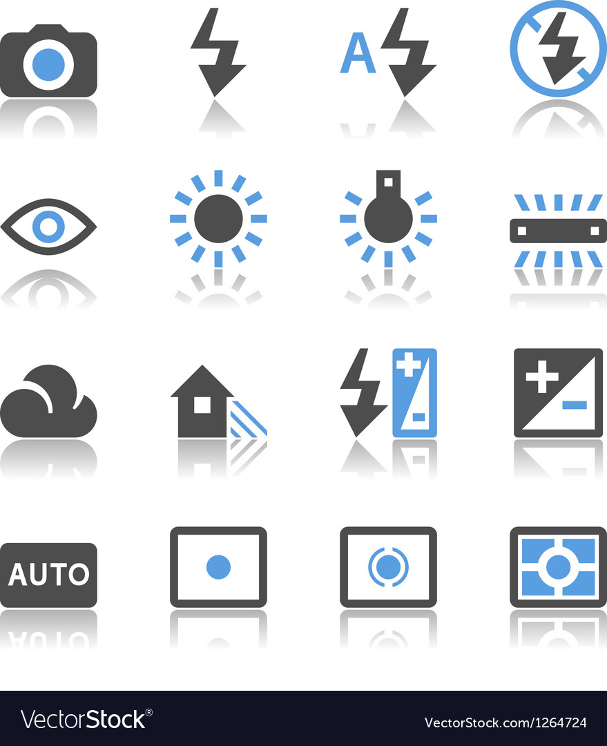 Photography icons reflection vector