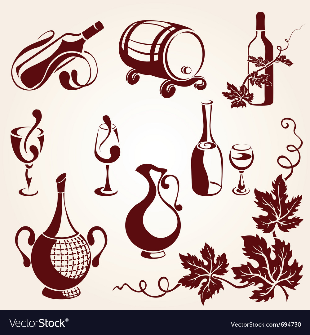 Set of vine elements vector