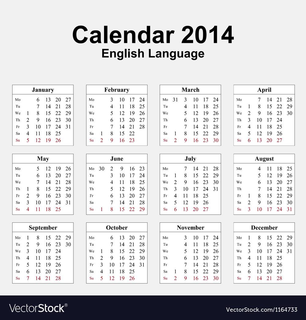 Calendar 2014 typ 13 vector