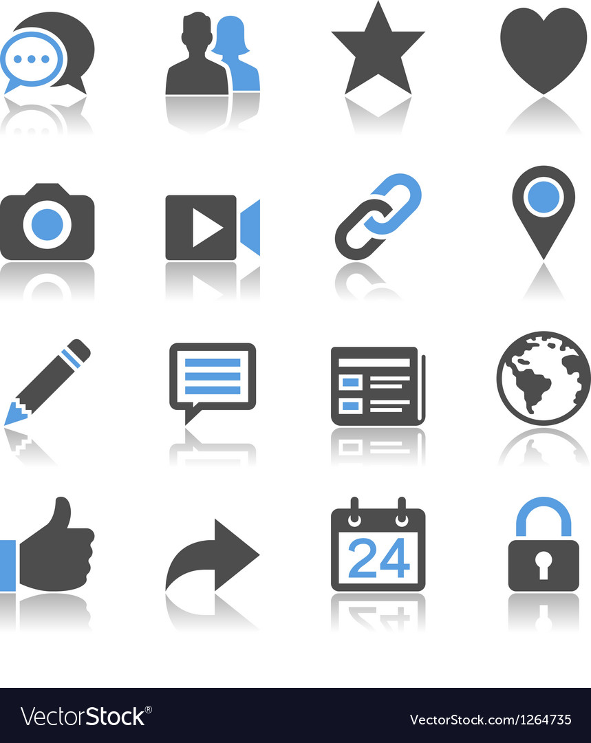 Social network icons reflection vector