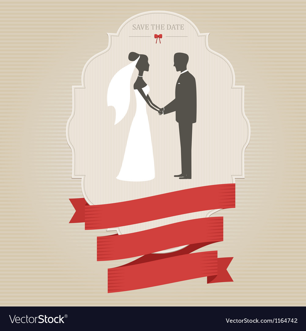 Vintage wedding invitation with bride and groom vector