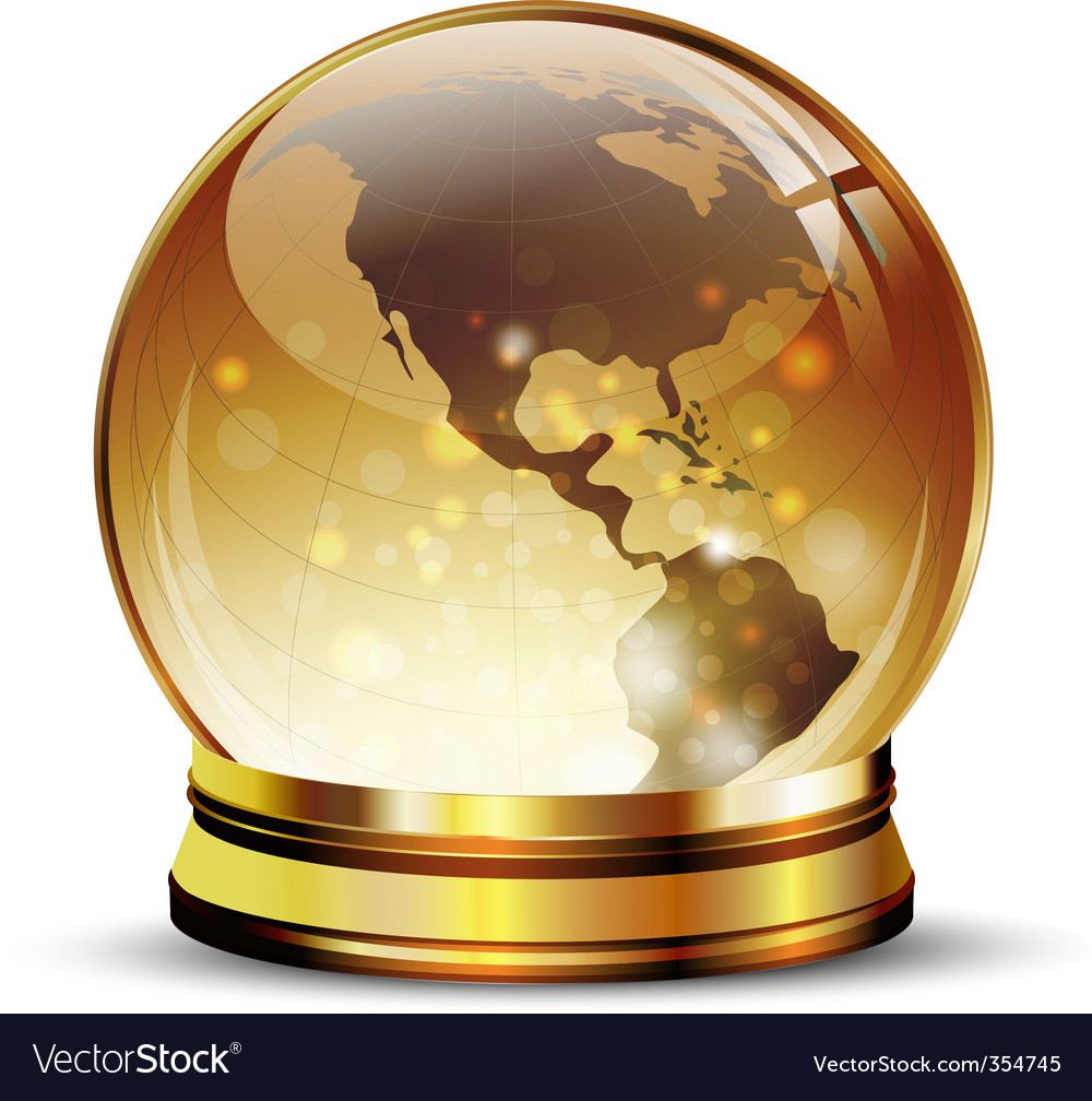 Globe in golden stand vector