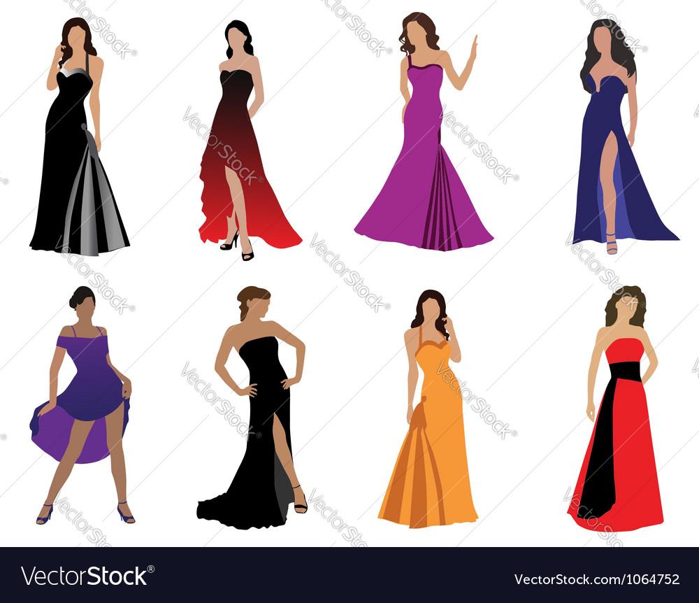 Elegant Women Dress Vectors From 50s  Download Free Vector Art Stock