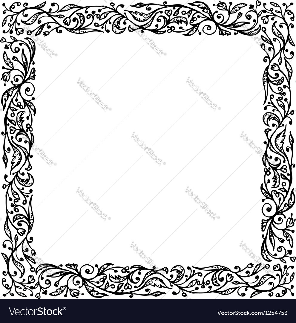 Ornamental frame hand drawing for your design vector