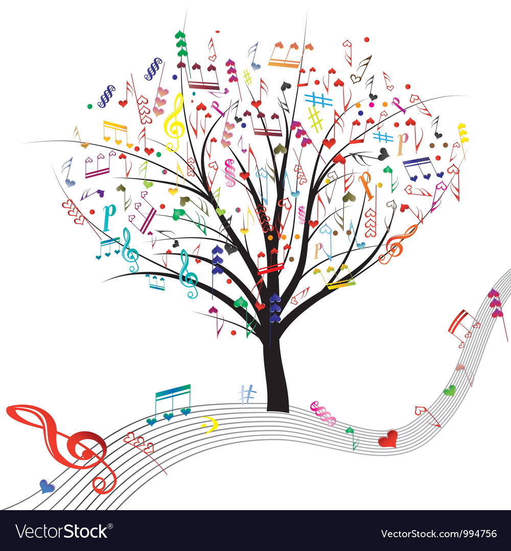 Tree music color vector