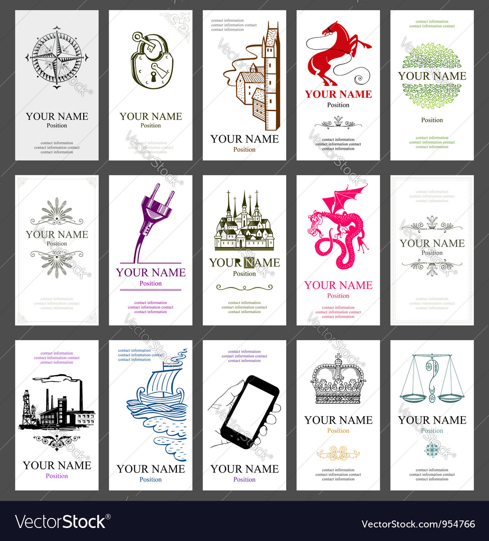 15 vertical business cards vector