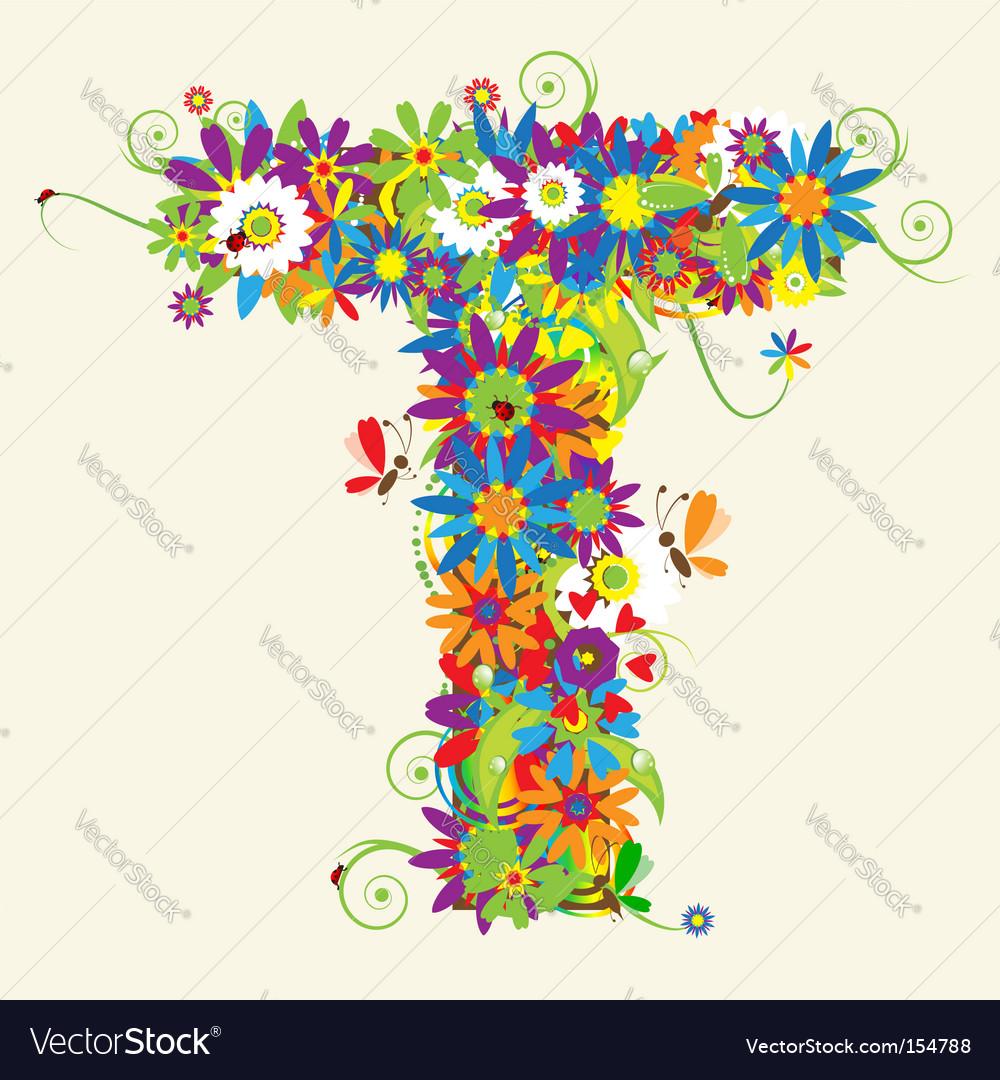 Letter t floral design vector  T Letter Design