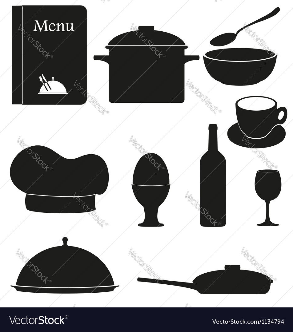 Set kitchen icons for restaurant cooking black vector